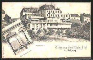 AK Kyllburg, Eifeler Hof, Rückansicht und Halle im Eifeler Hof