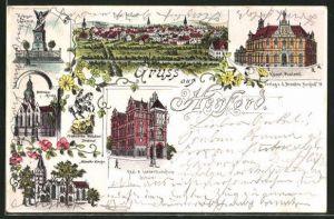 Lithographie Herford, Krieger-Denkmal, Kaiserl. Postamt, Total-Ansicht, Radewiger-Kirche, Münster Kirche