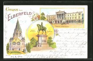 Lithographie Elberfeld, Bahnhof Döppersberg, Kaiser Wilhelm Denkmal und Friedhofskirche