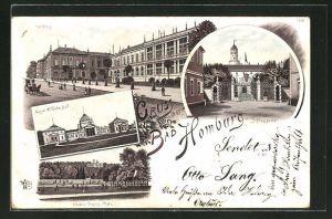 Lithographie Homburg, Kurhaus, Schlossportal und Lawn-Tennis-Platz