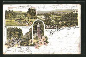 Lithographie Bad Homburg, Panorama, Lawn-Tennis-Platz und Kaiser Friedrichs Promenade