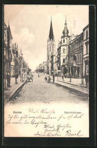 AK Herne, Bahnhofstrasse mit Passanten und Geschäften