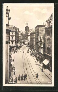 AK Elberfeld, Strasse am Wall mit Passanten und Geschäften
