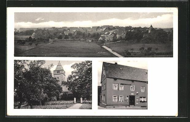 AK Hahn / Mosel, Gasthaus P. Boos, an der Kirche
