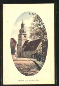 AK Herford, Strasse mit Blick zur Radewiger Kirche