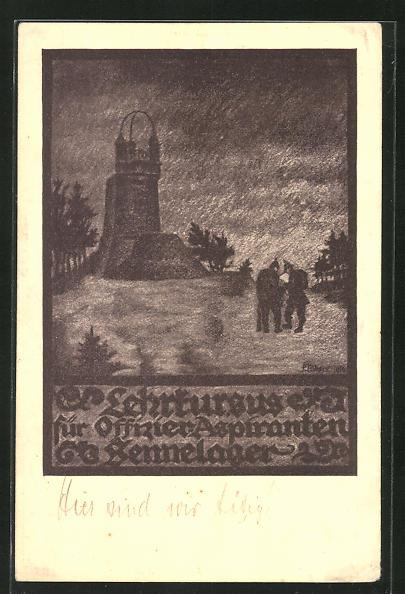Künstler-AK Senne, Lehrkursus für Offizier-Aspiranten Sennelager, am Diebesturm