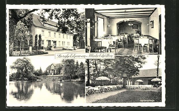 AK Borgholzhausen-Winkelshütten, Hotel-Pension Haus Uffmann mit Schwanteich und Innenansicht