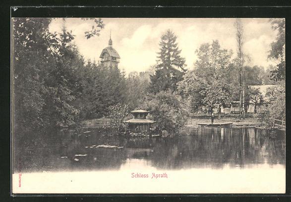 AK Aprath, Turm vom Schloss Aprath vom Wasser aus gesehen