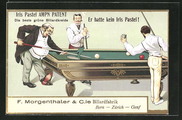 AK Bern - Zürich - Genf, Billardfabrik F. Morgenthaler, Reklame