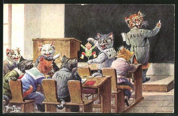 Künstler-AK Arthur Thiele: In der Katzenschule, Schüler spielen ihrem Lehrer einen Streich, vermenschlichte Tiere