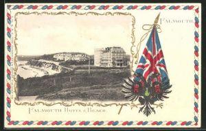 Präge-AK Falmouth, Falmouth Hotel and Beach, Wappen