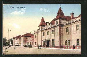 AK Szolnok, Pályaudvár, Ansicht vom Bahnhof