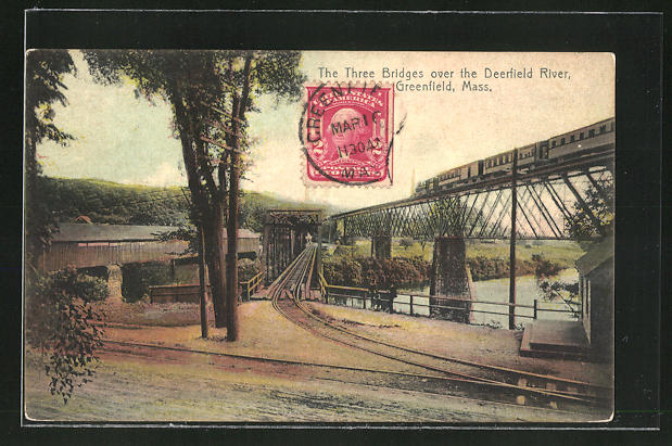 AK Greenfield, MA, The Three Bridges over the Deerfield River 0