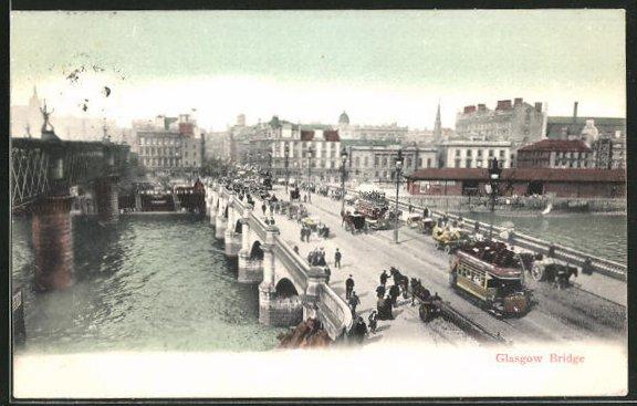 AK Glasgow, Brücke mit Teilansicht 0