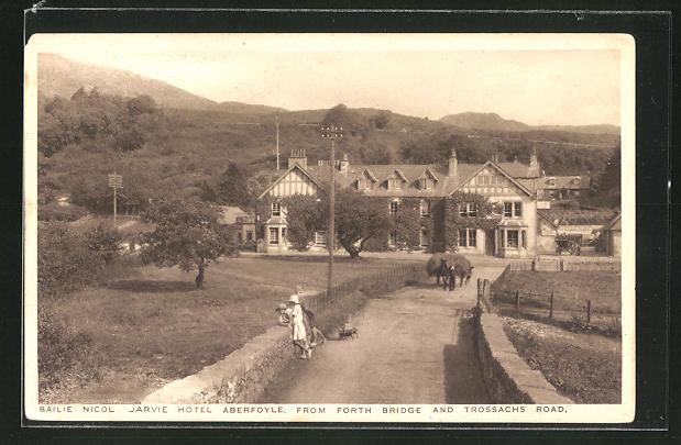AK Aberfoyle, Jarvie Hotel Aberfoyle from Forth Bridge and Trossachs Road