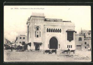 AK Sfax, Le Theatre et la Rue de la Republique