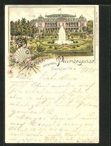 Vorläufer-Lithographie Frankfurt-Westend, 1895, Ansicht vom Palmengarten