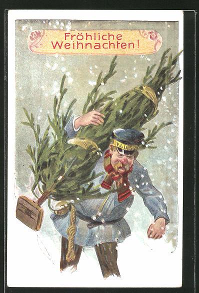 Präge-AK Fröhliche Weihnachten, Page bringt Weihnachtsbaum