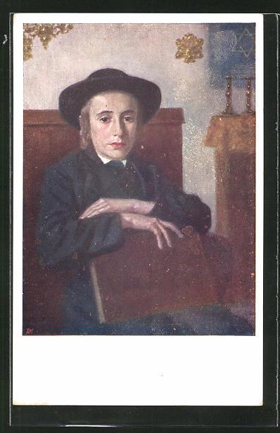 AK ein Jude mit seiner hebräischen Bibel