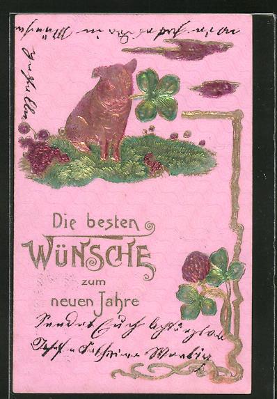 Präge-AK Neujahrswünsche, Schwein mit Kleeblatt