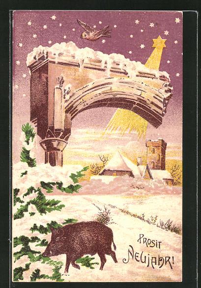 AK Neujahrsgruss, Schwein in Winterlandschaft