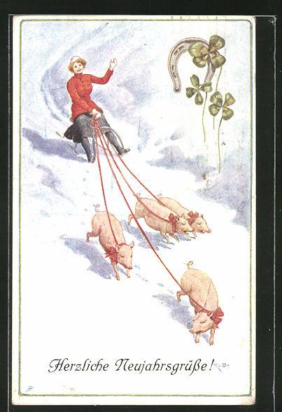 AK Neujahrsgruss, Frau auf Schlitten von Schweinen gezogen