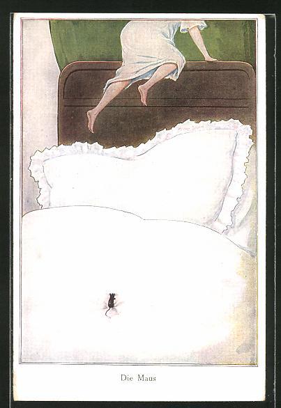AK Frau flüchtet vor einer Maus im Bett