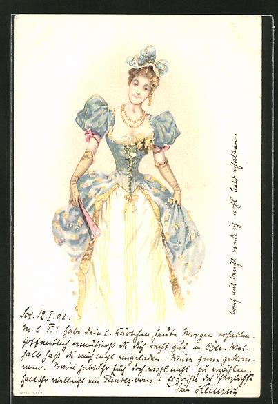 AK Jugendstil, Frau in toller Kleidung