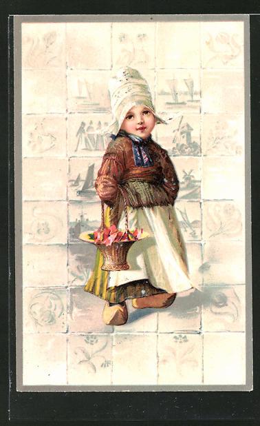 Präge-AK kleines Mädchen in holländischer Tracht mit Blumenkörbchen