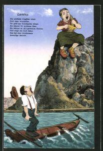 AK Loreley sitzt auf dem Felsen und kämmt ihre Haare, Spruch