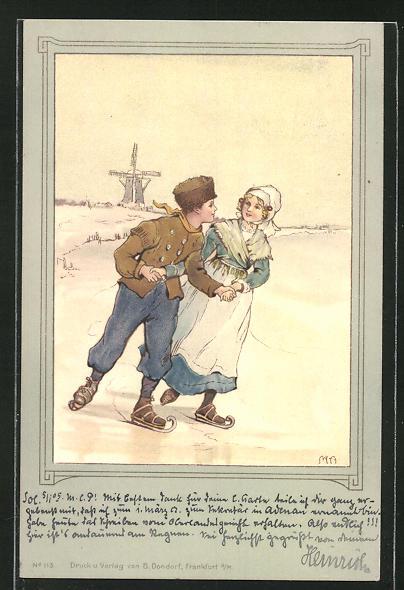 AK ein junges Paar beim Schlittschuhlaufen