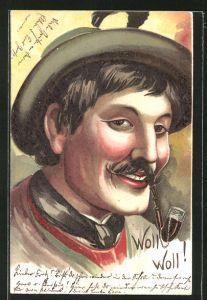 AK Mann mit Hut und Pfeife im Mund