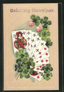 Präge-AK Neujahrsgruss, Kartenspiel mit Kleeblättern