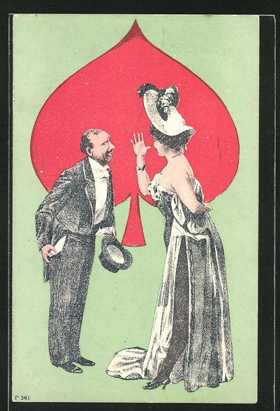 AK Frau und Mann vor Spielkarte, Kartenspiel