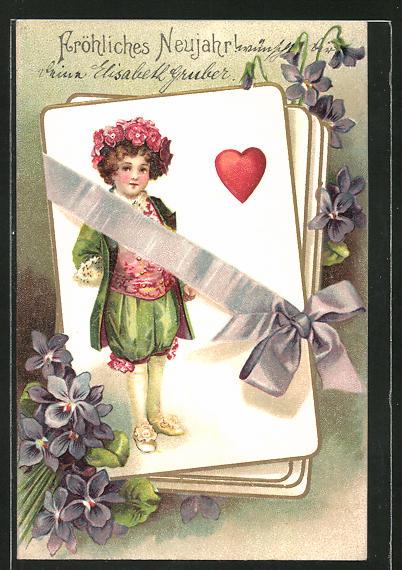 Präge-AK Neujahrsgruss, Junge auf Kartenspiel, Veilchen