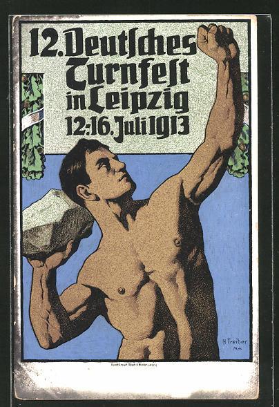 AK Leipzig, 12. Deutsches Turnfest 1913, Mann beim Steinwurf