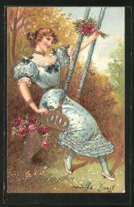 Präge-AK Junges Mädchen auf einer Schaukel mit Blumenstrauss
