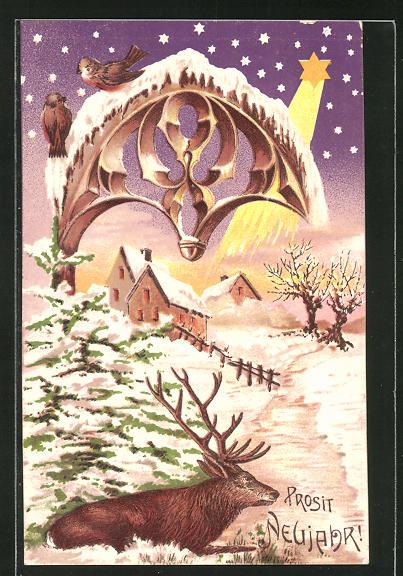 Präge-AK Prosit Neujahr, Hirsch in einer Winterlandschaft
