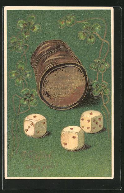 AK Würfelspiel mit Kleeblättern