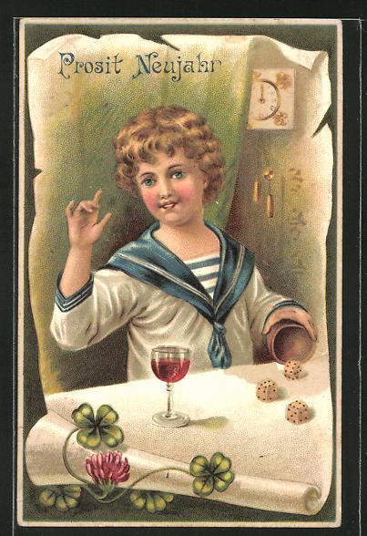 Präge-AK Junge im Matrosenanzug am Tisch mit Würfelspiel