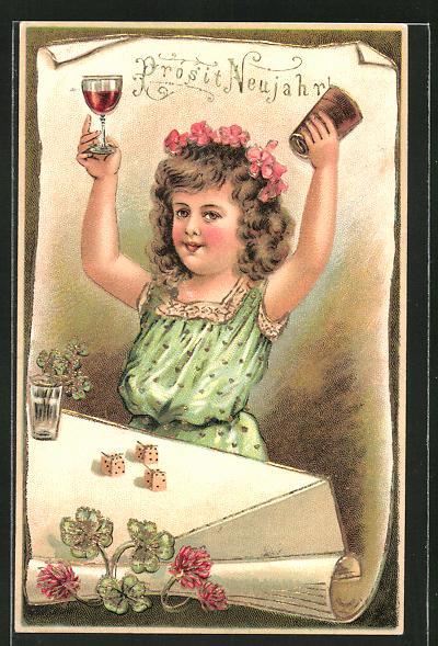 Präge-AK Prosit Neujahr, Mädchen am Tisch mit Würfelspiel