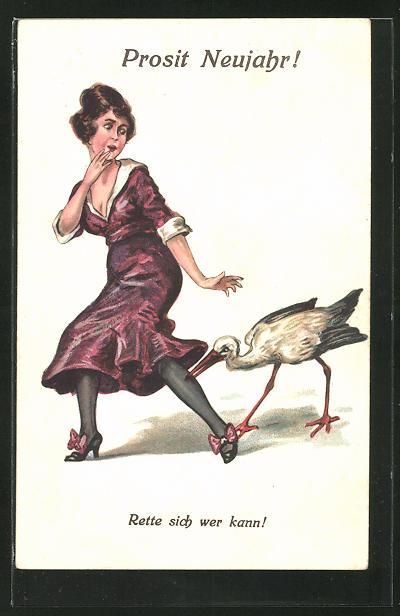 AK Prosit Neujahr, Storch beisst junger Frau in die Wade - Rette sich wer kann !