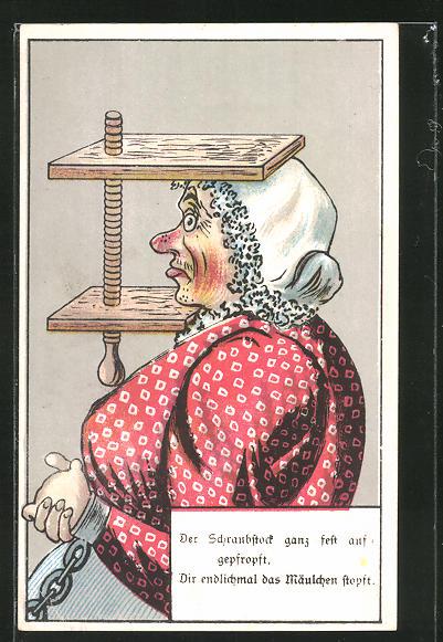 AK Frau mit Kopf in Schraubzwinge und Hände in Handschellen, frauenfeindlicher Humor