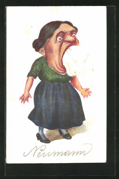 AK frauenfeindlicher Humor, schreiende Frau