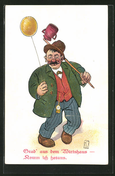 AK Trinkerhumor, Mann mit Luftballon kommt aus dem Wirtshaus