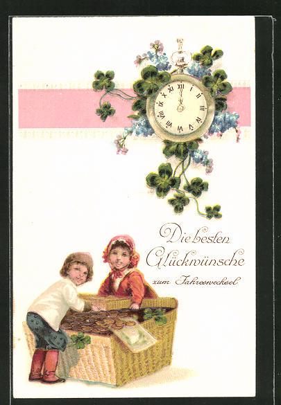 AK Glückwünsche zum Jahreswechsel, Kinder mit einem Korb voller Geld