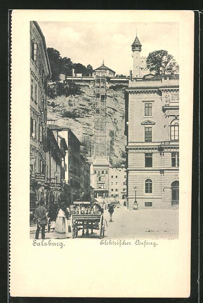AK Salzburg, Strasse zum elektrischen Aufzug