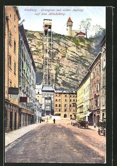 AK Salzburg, Griesgasse mit elektrischen Aufzug auf dem Mönchsberg