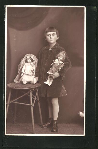 AK Mädchen mit zwei Puppen