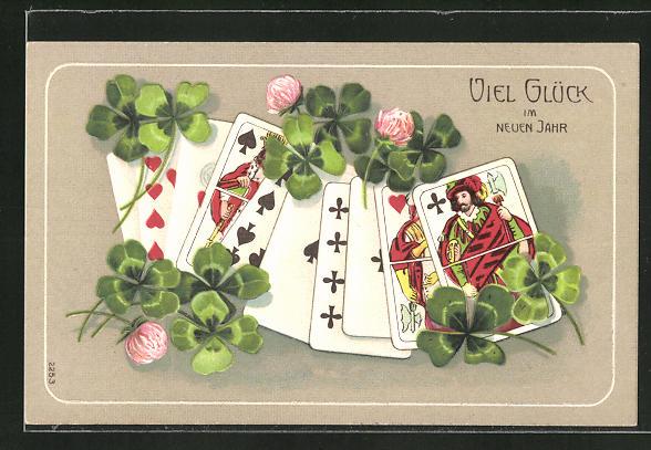 Präge-AK Neujahrsgruss, Kartenspiel mit Klee umgeben